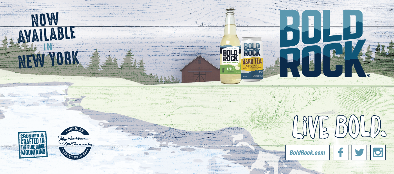 Bold Rock Cider, Lemonade, and Teas, now available in NY