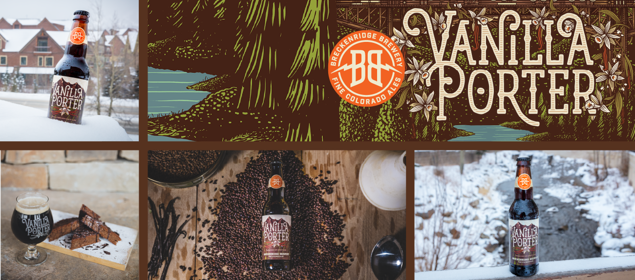 Breckenridge Vanilla Porter bottle images in snow and with brownies.