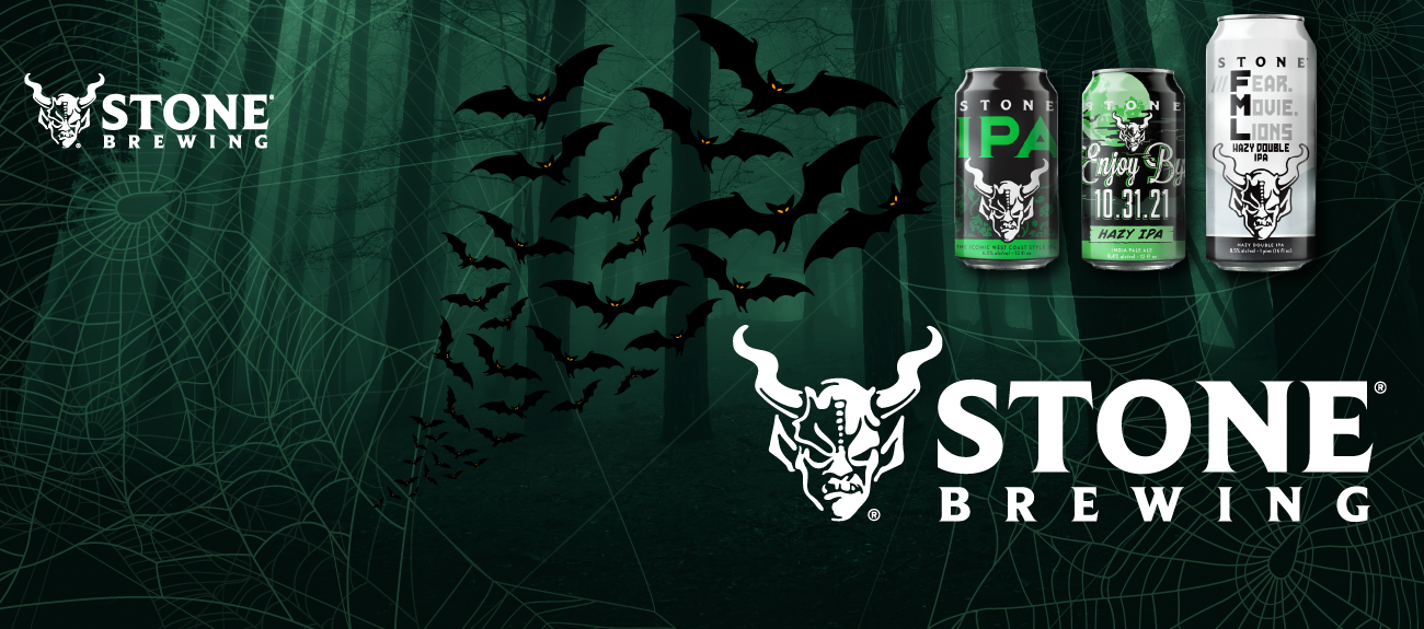 Stone Brewing Spooky Banner featuring: IPA,  Enjoy by 10.31, and fear movie lions